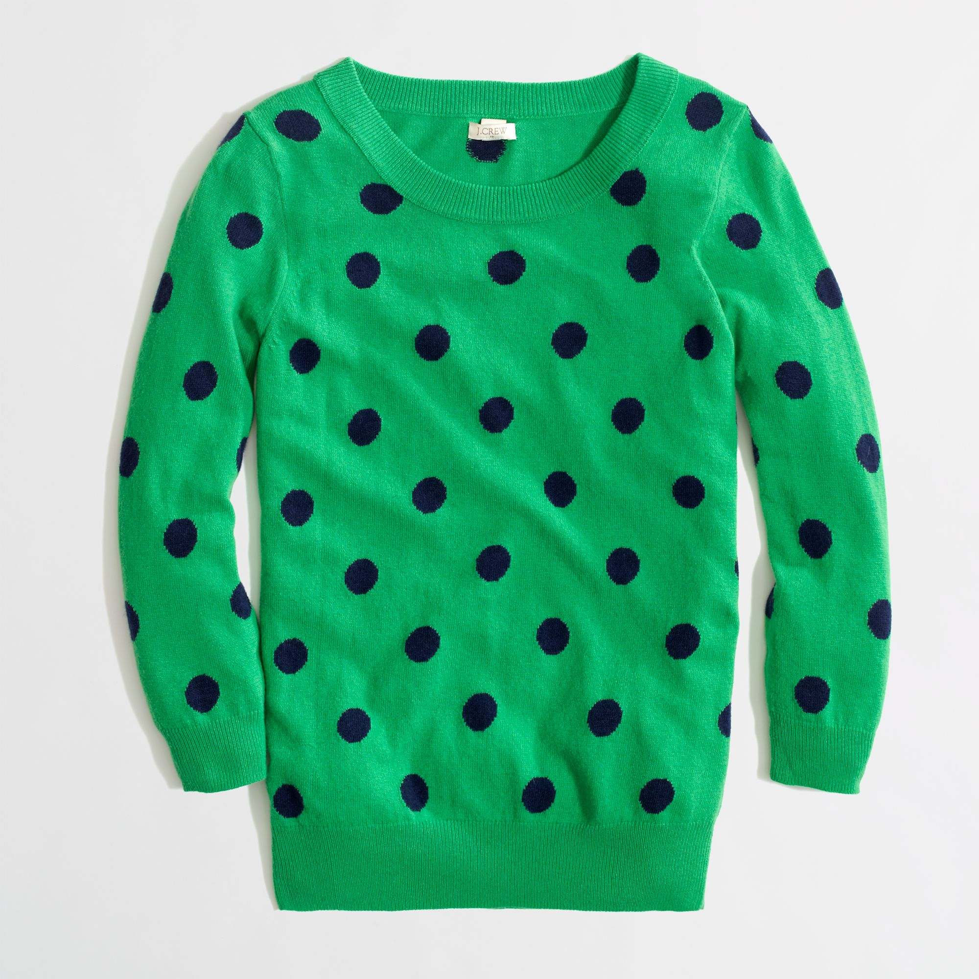 J.crew Factory Intarsia Charley Sweater in Polka Dot in Green | Lyst