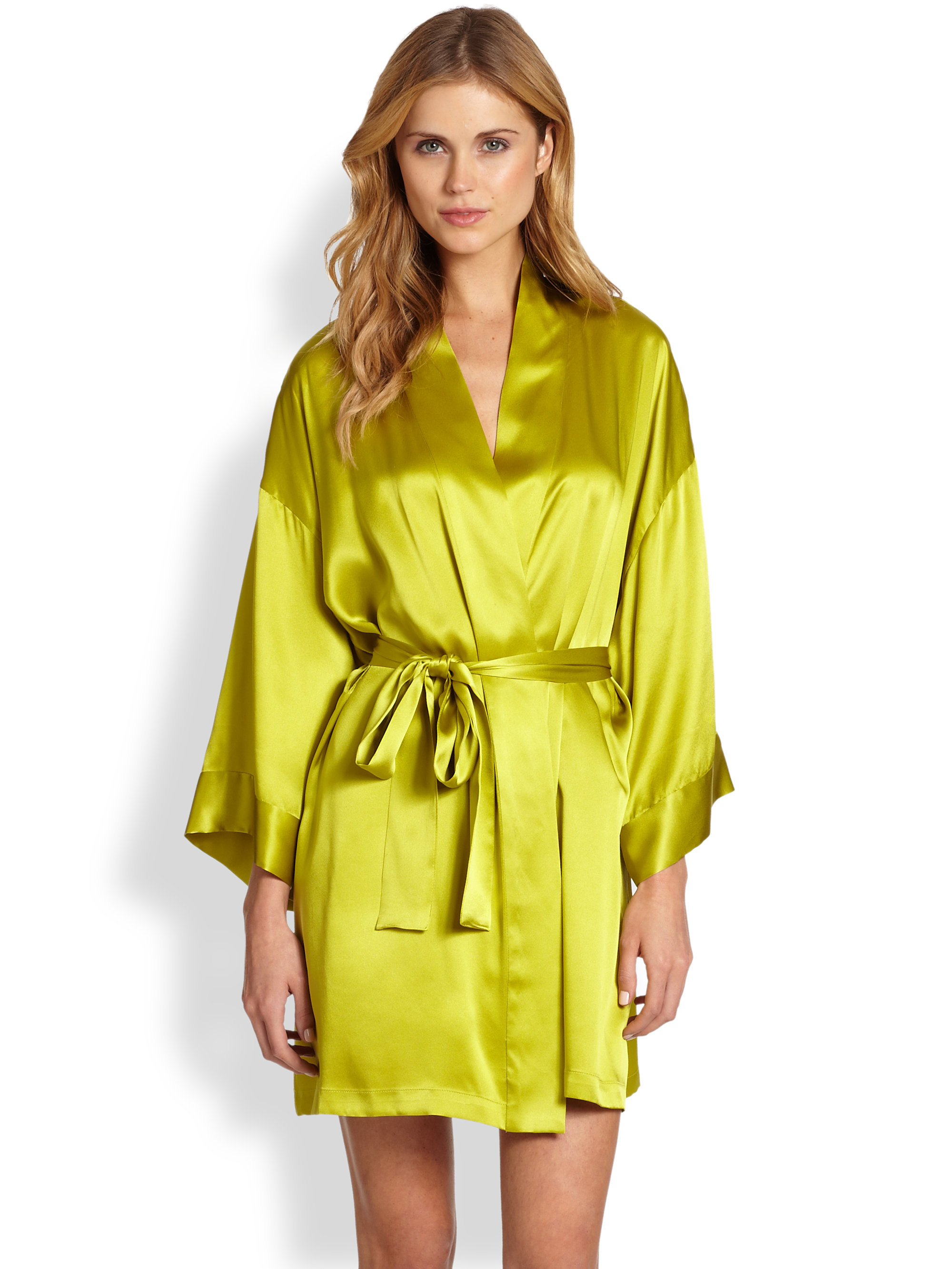 Josie Natori Lolita Silk Short Robe in Green (MELON) | Lyst