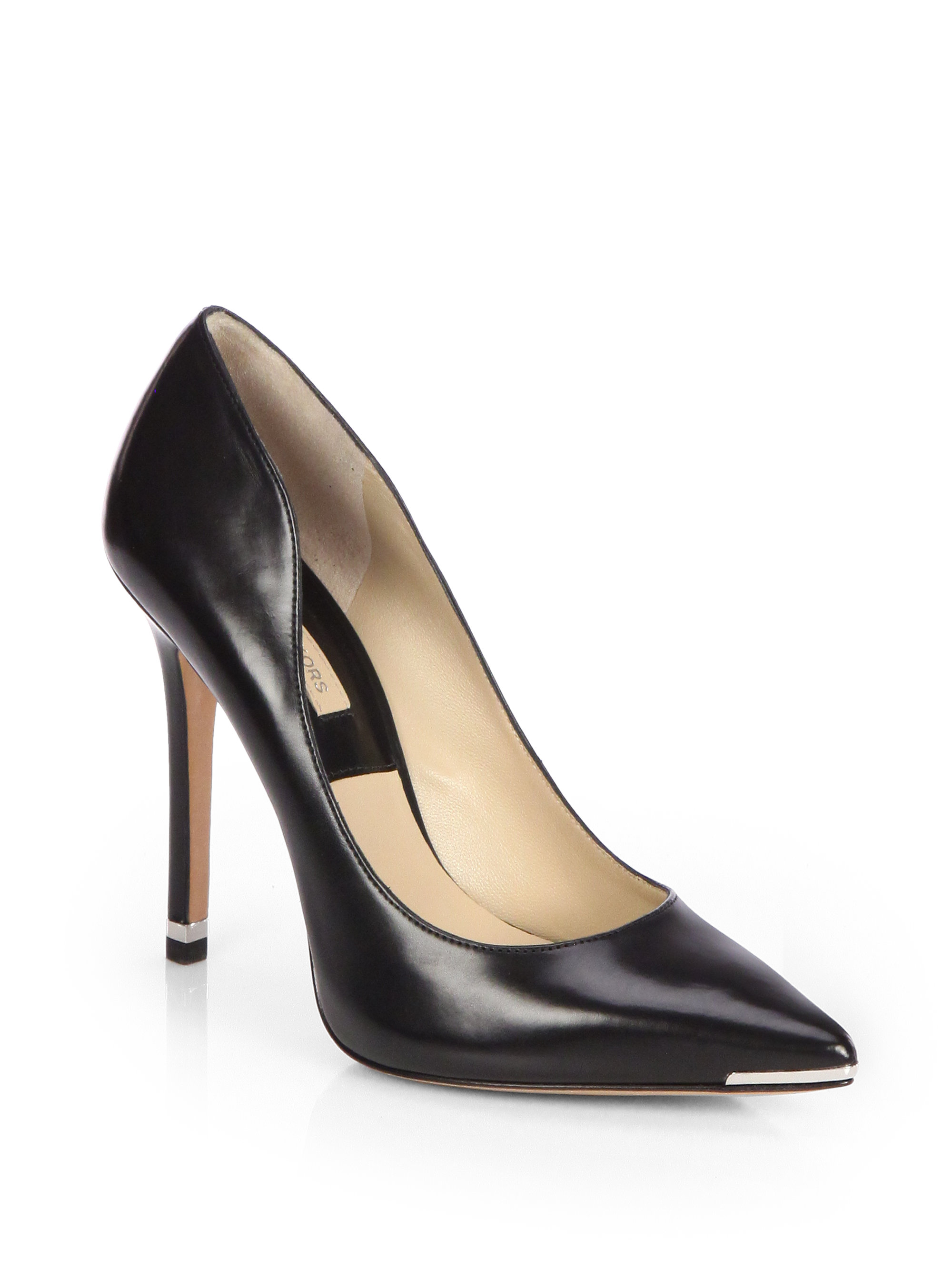 Lyst Michael Kors Avra Leather Pumps In Black