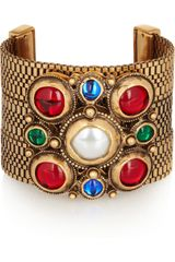 Oscar de la Renta Gold-plated Faux Pearl and Glass Cuff - Lyst