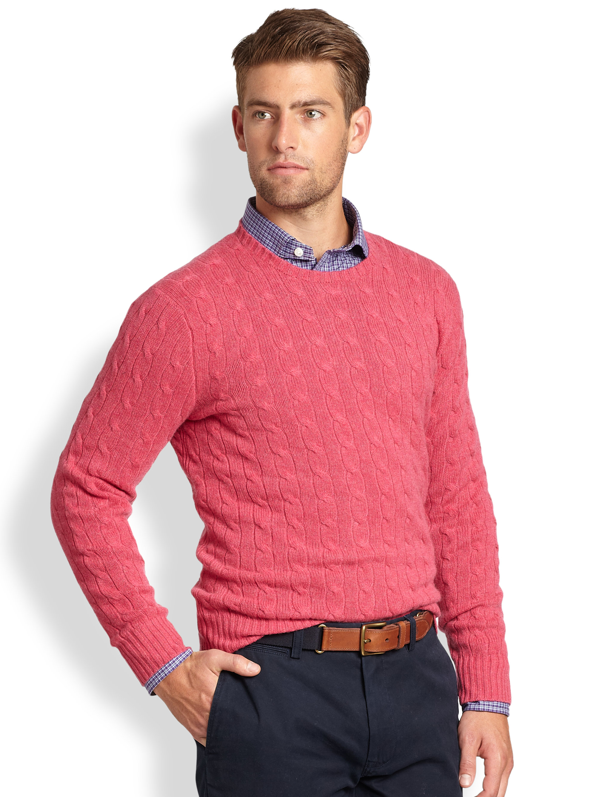 Lyst Polo Ralph Lauren Cable Knit Cashmere Crewneck Sweater In Red