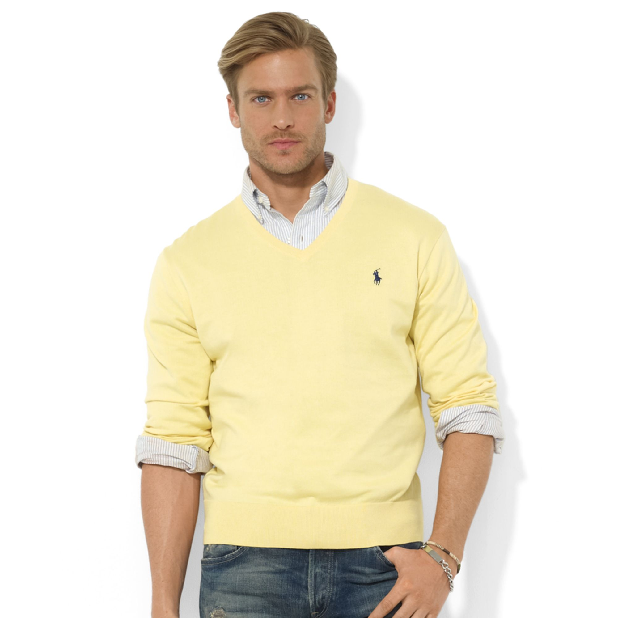 Ralph lauren Vneck Pima Cotton Sweater in Yellow for Men | Lyst