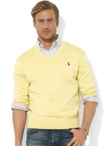 Ralph Lauren Vneck Pima Cotton Sweater - Lyst