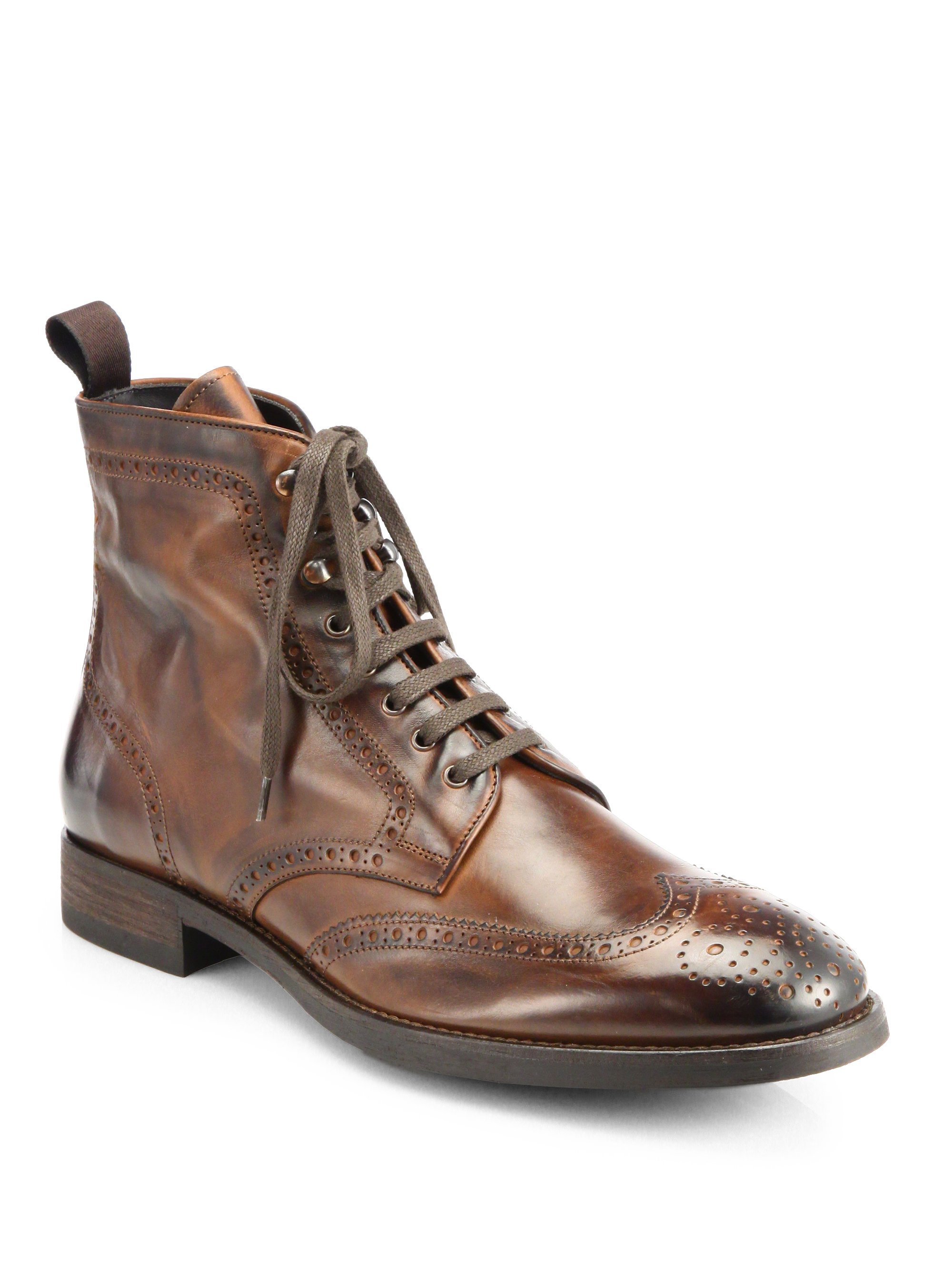 to boot brennan wingtip leather boots in brown for