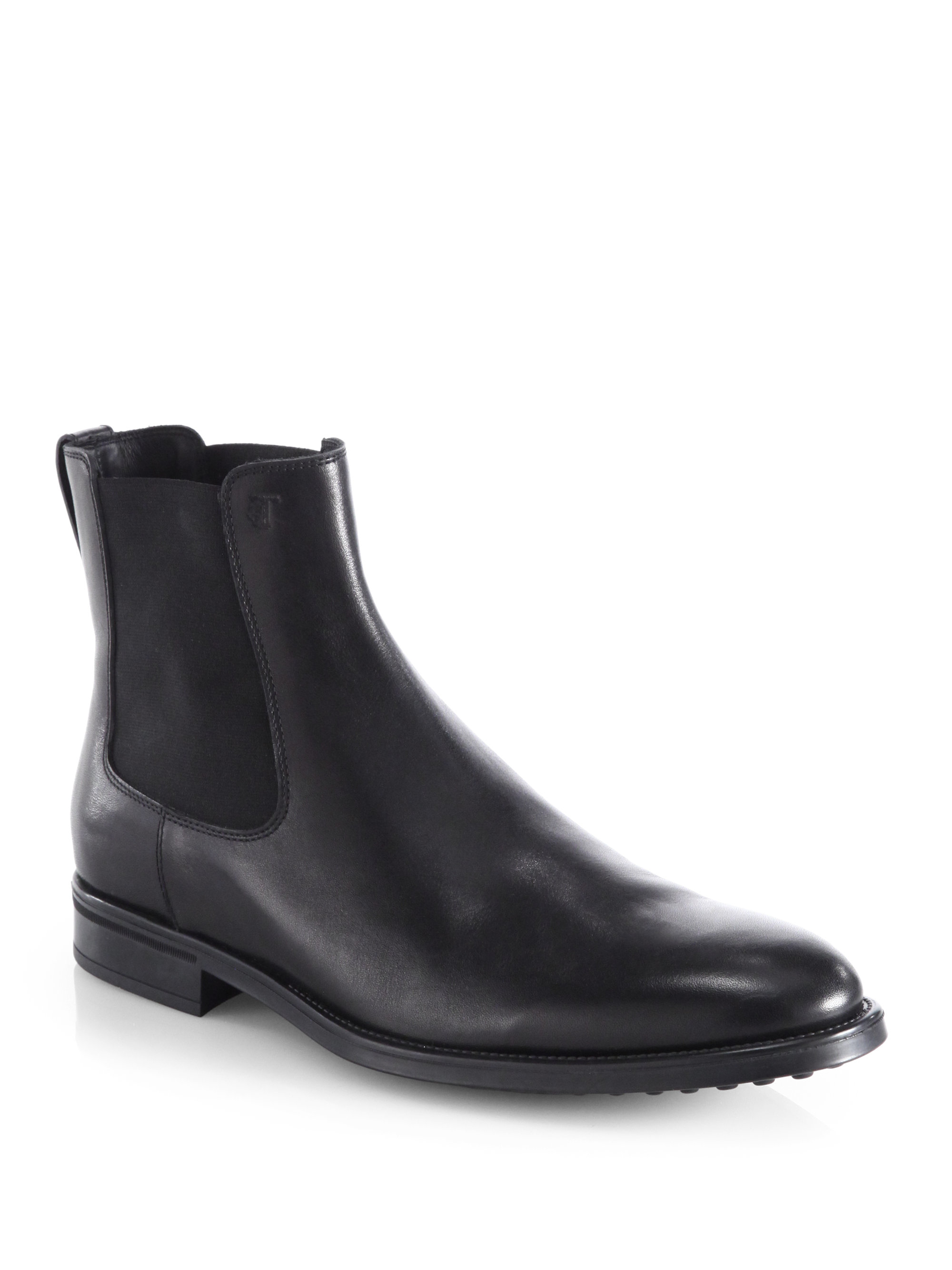 tod 39 s leather chelsea boots in black for men lyst. Black Bedroom Furniture Sets. Home Design Ideas