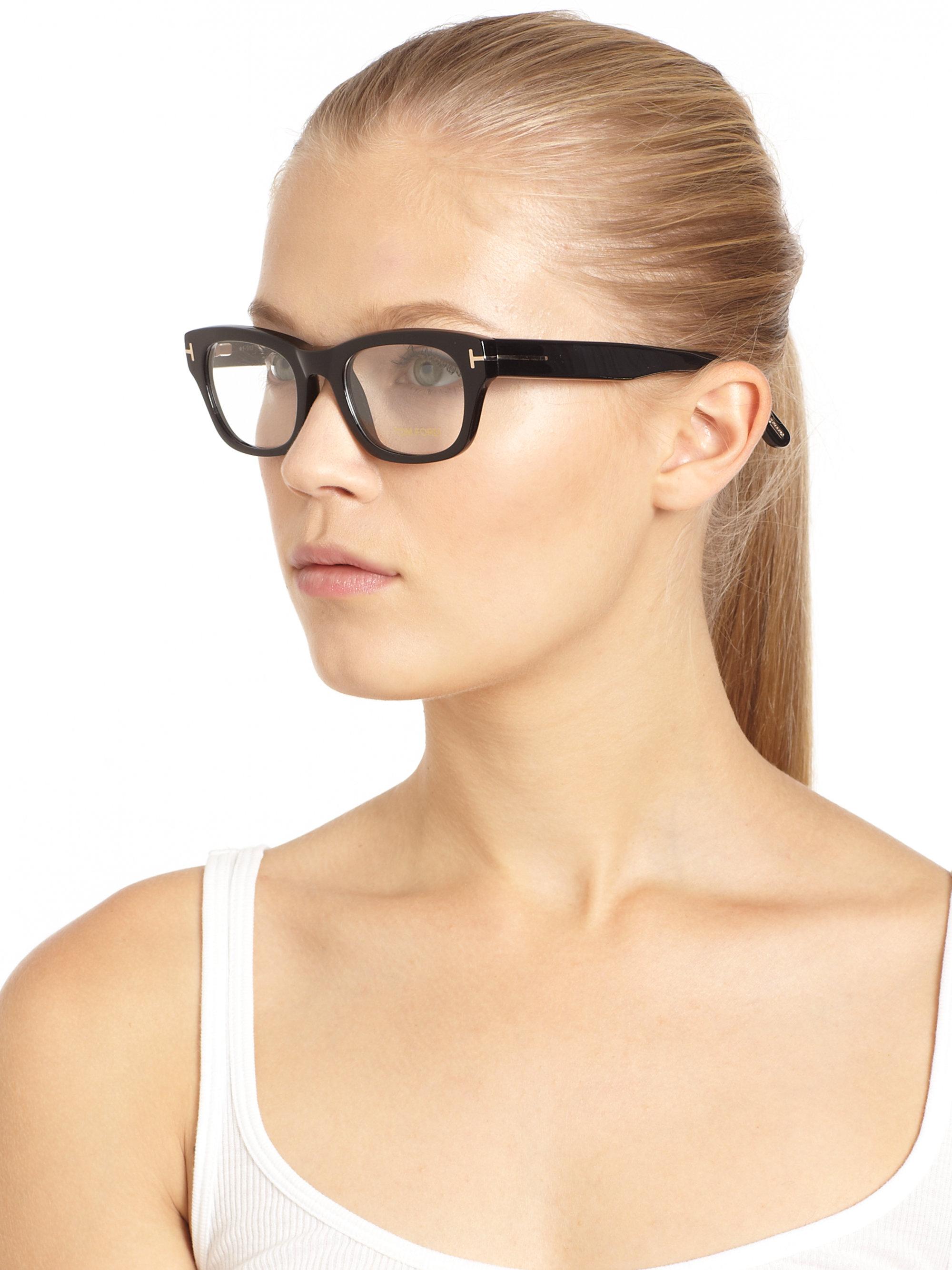 lyst tom ford thick square optical glasses black in black. Black Bedroom Furniture Sets. Home Design Ideas