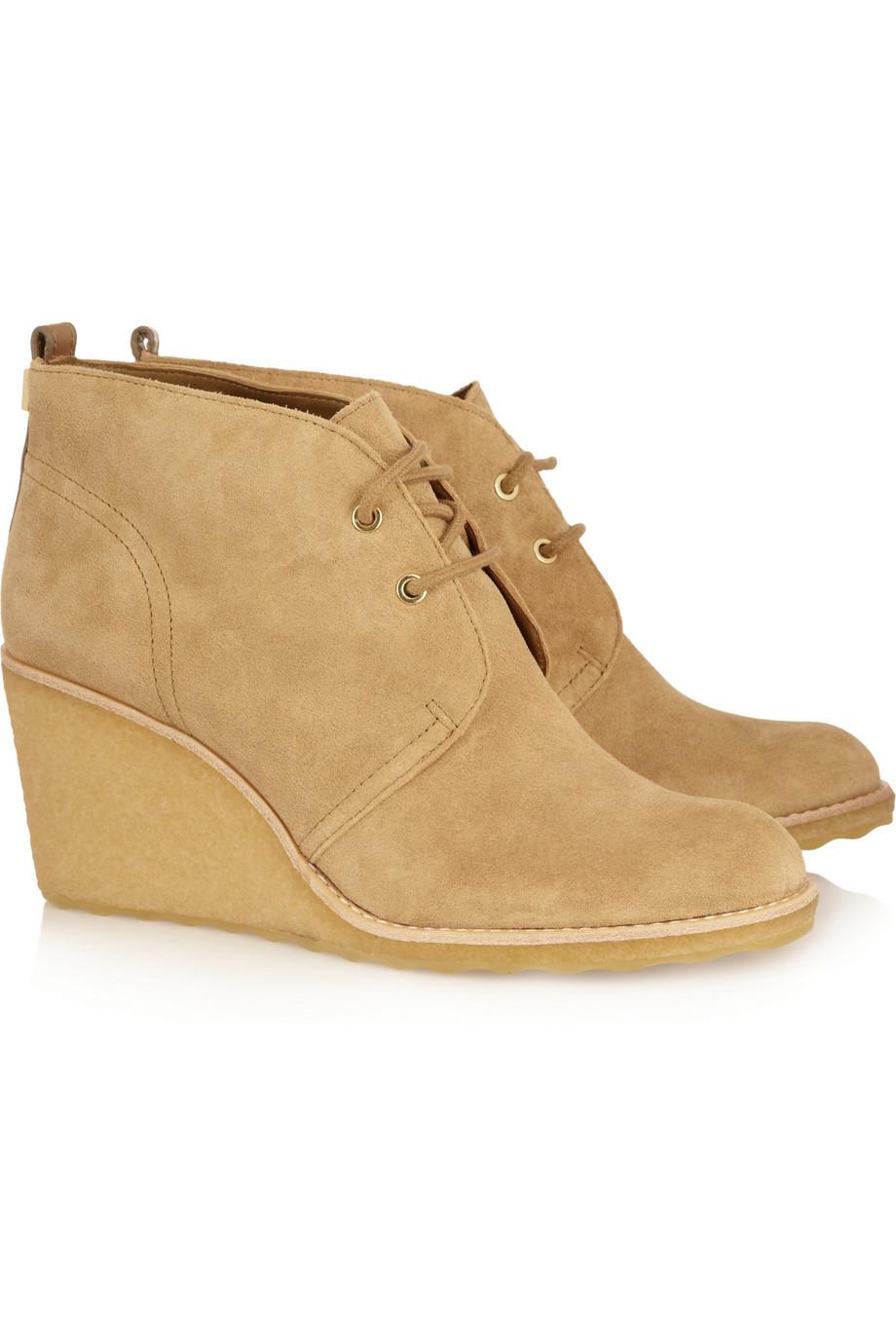 burch vicki suede wedge boots in beige lyst