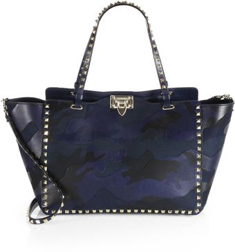 Valentino Camouflage Rockstud Leather Canvas Tote - Lyst