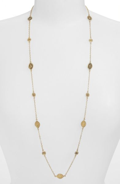 Anna Beck Gili Mini Disc Leaf Long Necklace in Gold (Gold ...