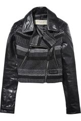 Burberry Brit Leather and Wool-blend Jacket - Lyst