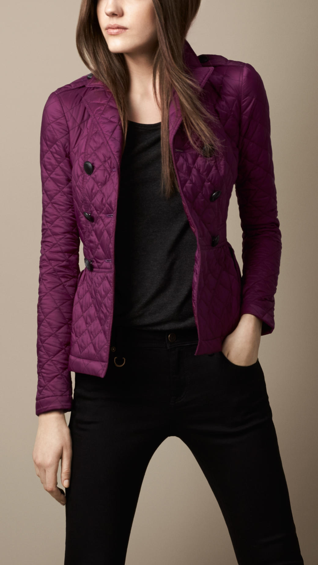 Burberry Quilted Peplum Jacket in Purple | Lyst : burberry purple quilted jacket - Adamdwight.com