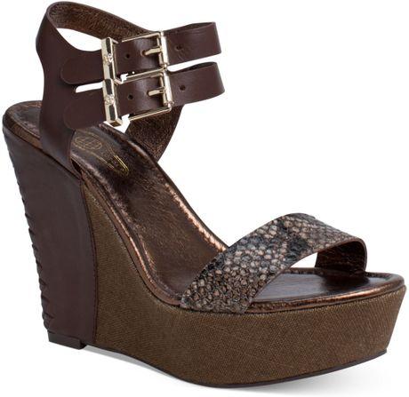 Elliott Lucca Giulia Platform Wedge Sandals in Brown (Bronze Exotic