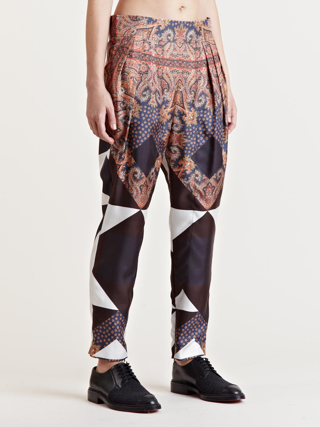 Givenchy Womens Silk Patterned Pants In Multicolor Multi