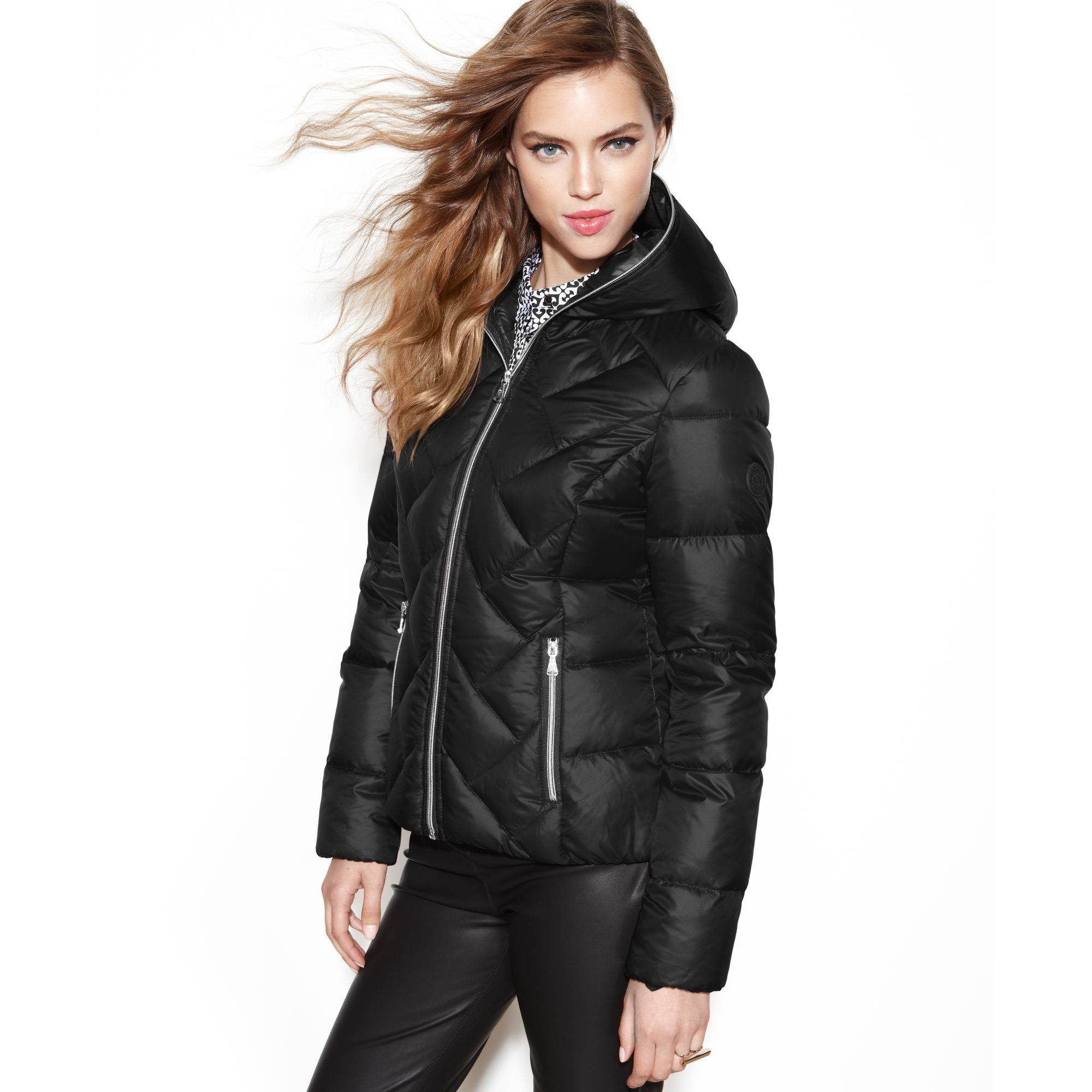 Guess Coat Hooded Quilted Puffer In Black Lyst