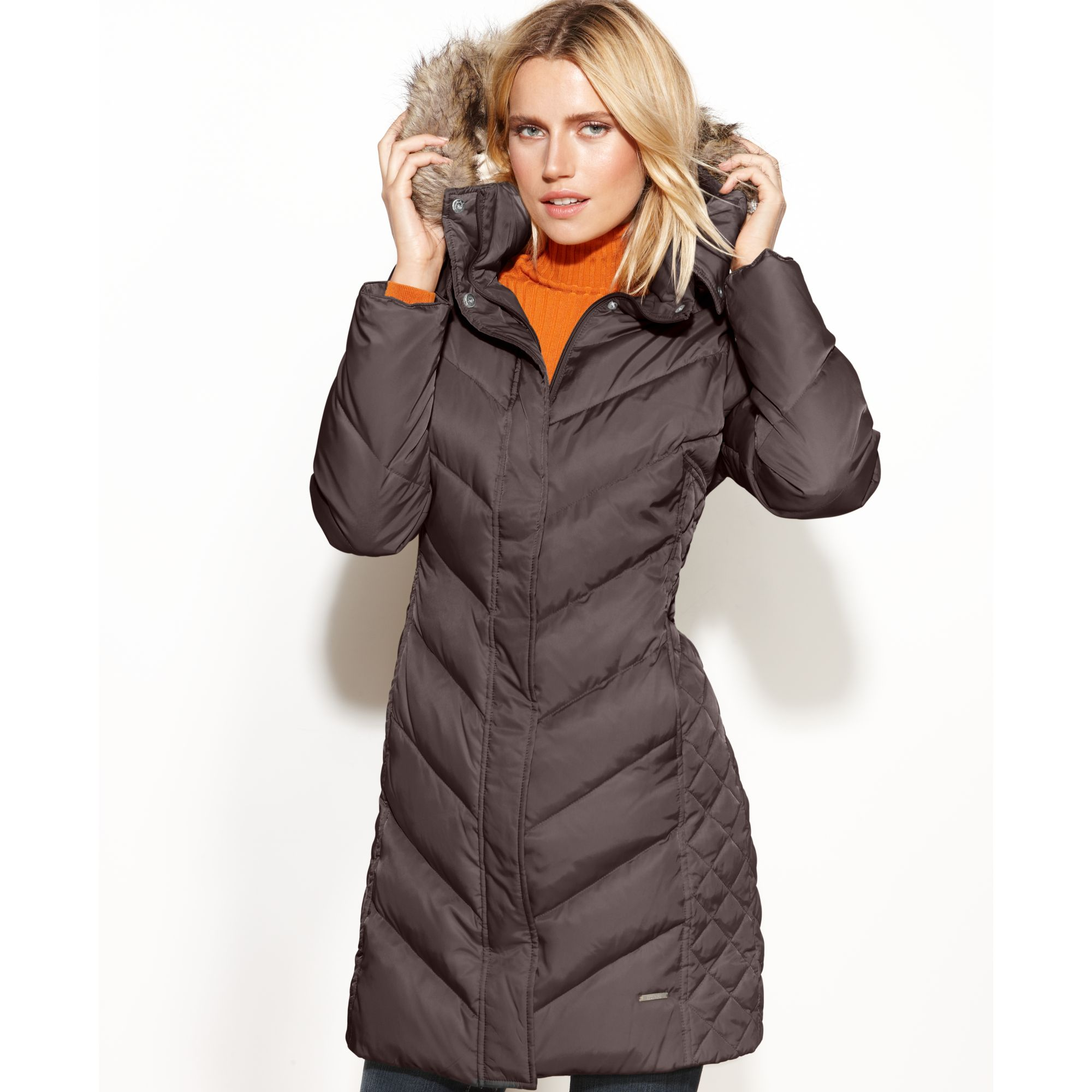 Lyst Kenneth Cole Reaction Hooded Faux Fur Trim Quilted