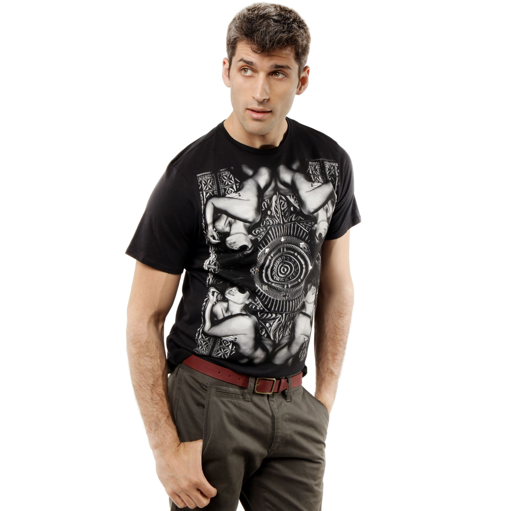 Lyst marc ecko too greedy short sleeve graphic in black for Marc ecko dress shirts