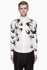 McQ by Alexander McQueen Off_white Swallow Print Shirt - Lyst