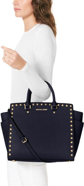 michael michael kors large selma studded saffiano tote in