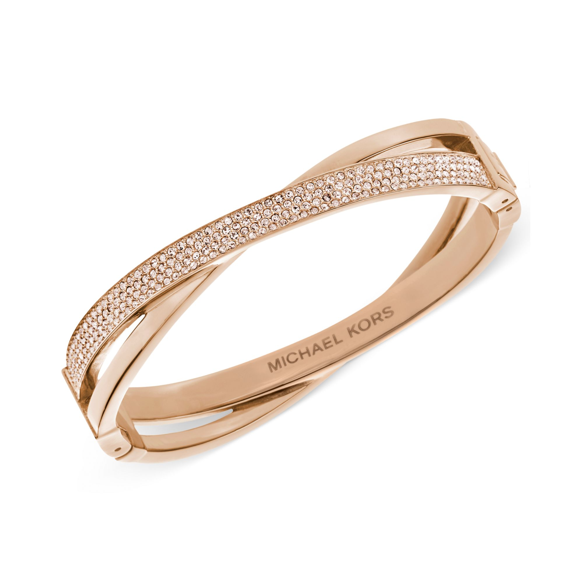 0ca22a6b71bd Lyst Michael Kors Rose Gold Tone Quartz Pave Criss Cross Bracelet