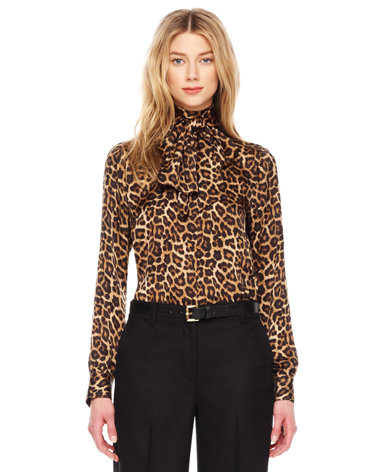 michael kors leopard print bow blouse in animal toffee