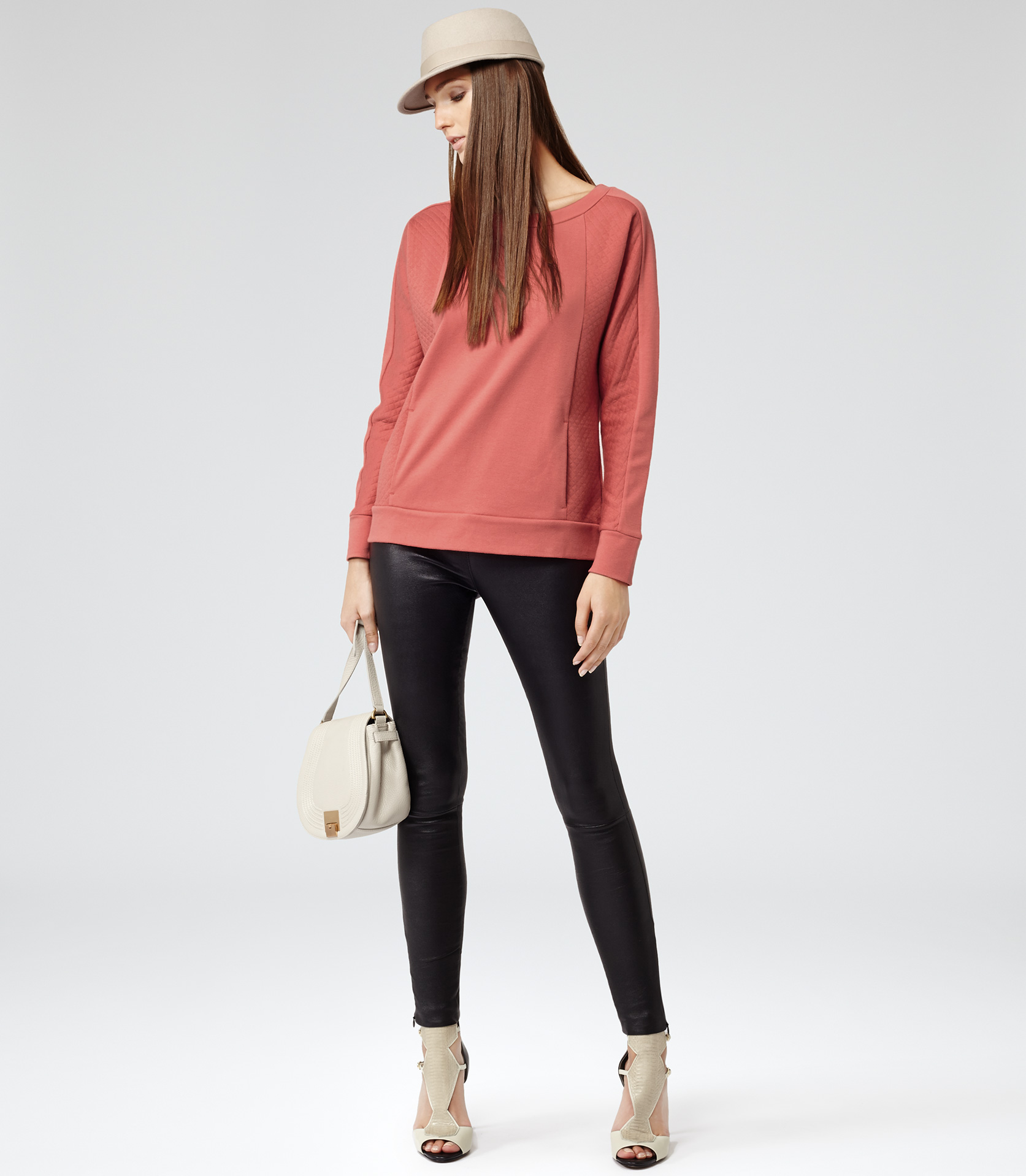 Lyst - Reiss Pisces Quilted Sweatshirt in Pink