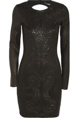 Roberto Cavalli Embroidered Leather Dress - Lyst