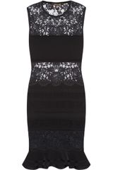 Roberto Cavalli Lace and Stretchjersey Dress - Lyst