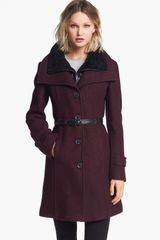 Soia & Kyo Wing Collar Coat with Genuine Shearling Inset - Lyst