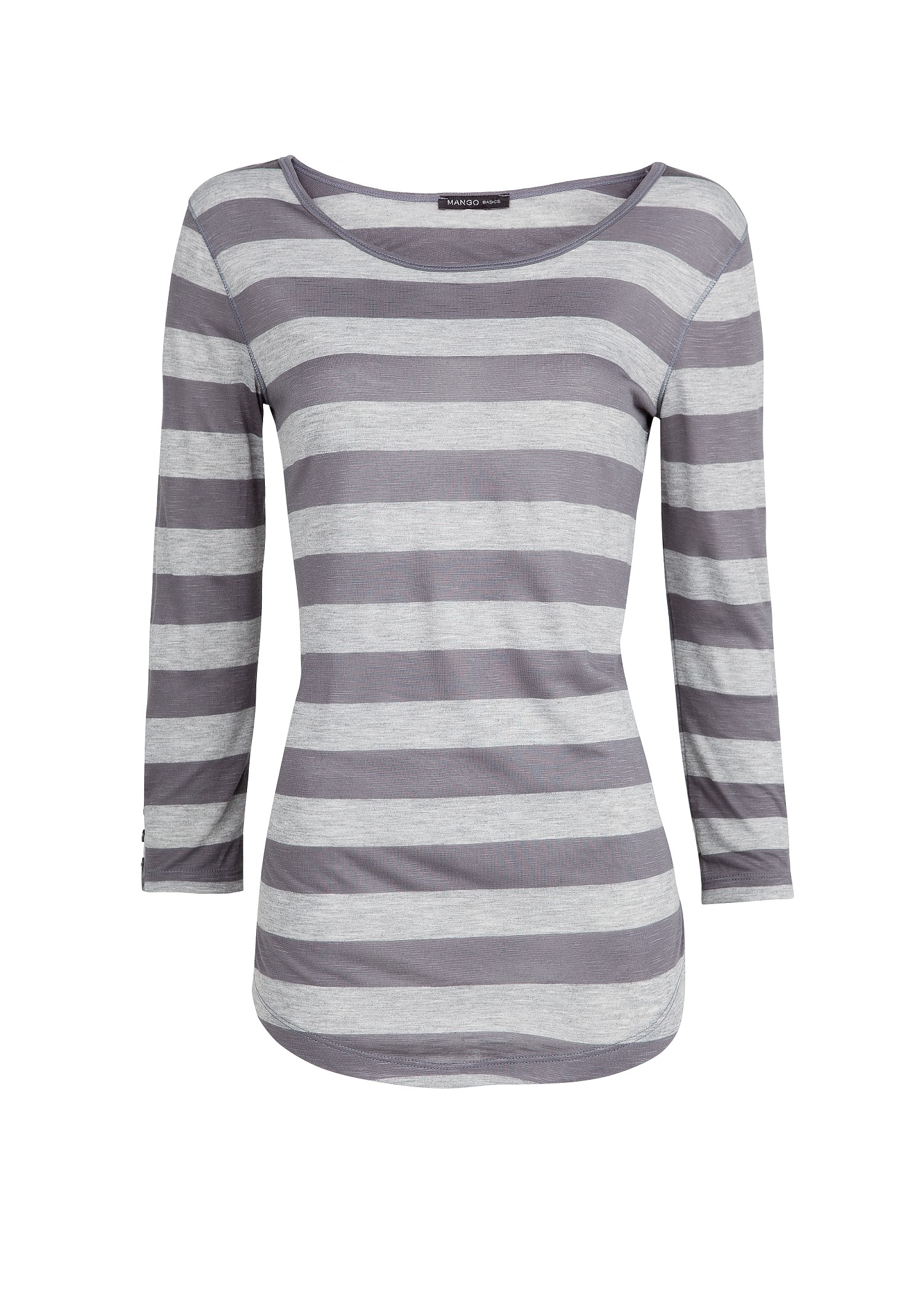 Mango flam fabric striped t shirt in gray lyst for Grey striped t shirt