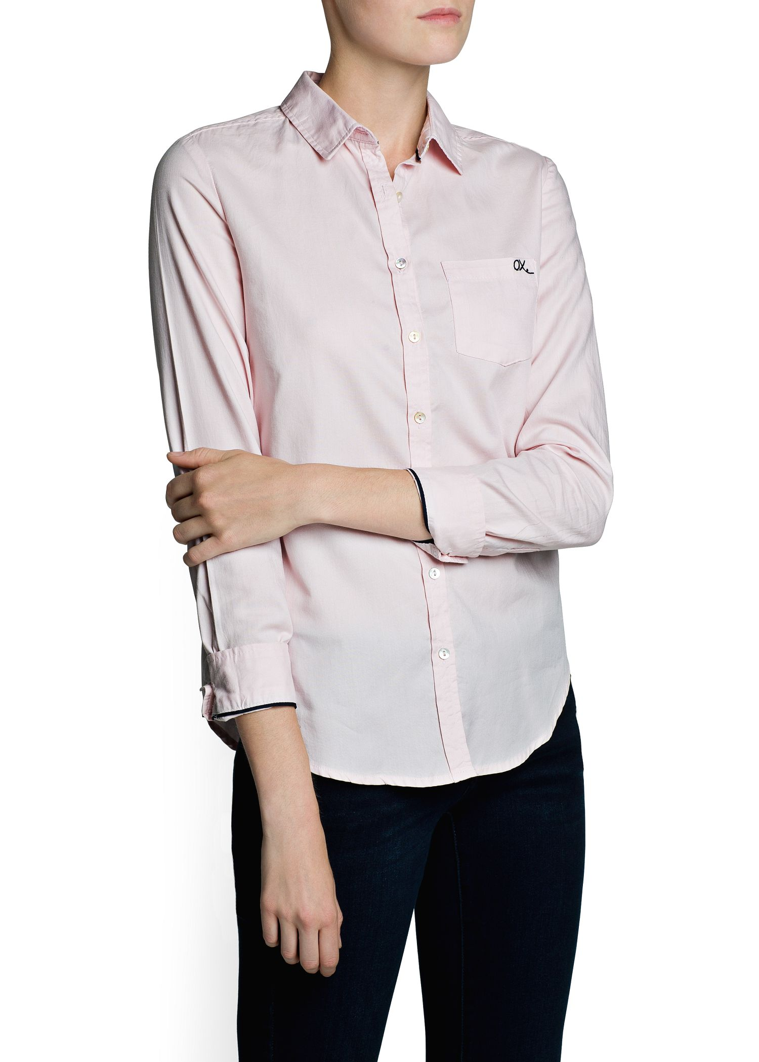 Lyst mango cotton oxford shirt in pink for T shirt printing oxford