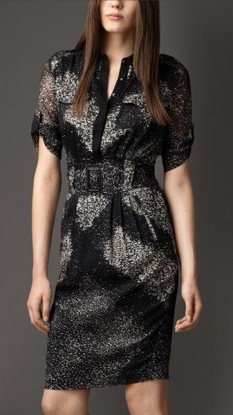 Burberry Abstract Rainprint Check Silk Shirt Dress In Gray