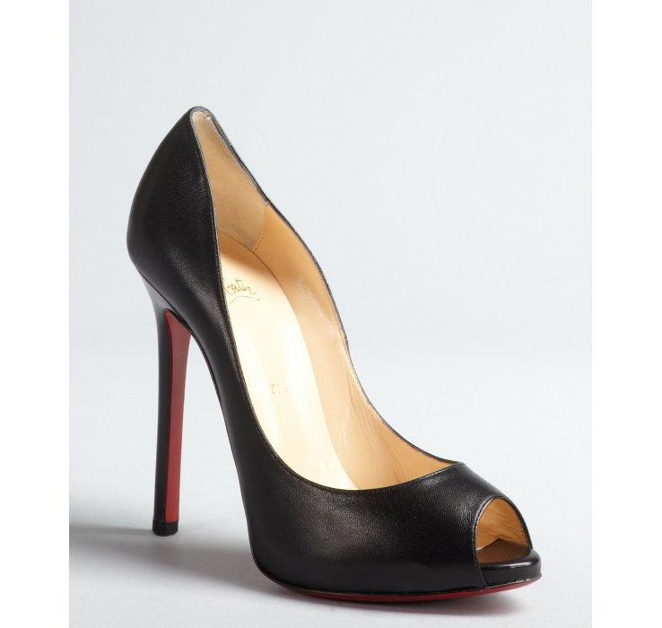 ... Peep Toe Platform Pumps  6e090 f0734 Lyst - Christian Louboutin Black  Leather Stiletto Flo 120 Pe huge selection of ... bba90560b7