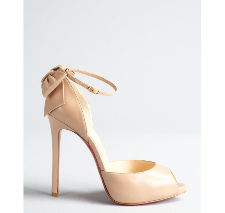 christian louboutin beige peep toe pumps