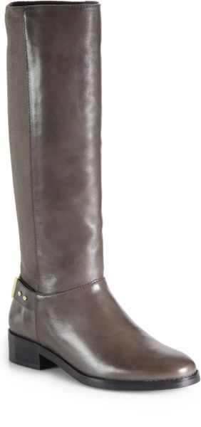cole haan adler leather suede knee high boots in gray