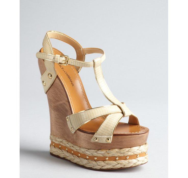 Dolce Amp Gabbana Beige Leather Espadrille Platform Wooden