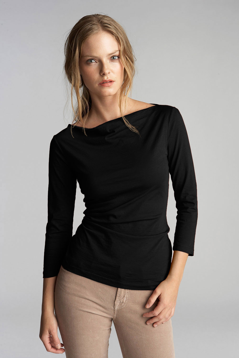 Nod to nautical style with this stretch cotton top featuring cropped sleeves and fold-over cuffs.