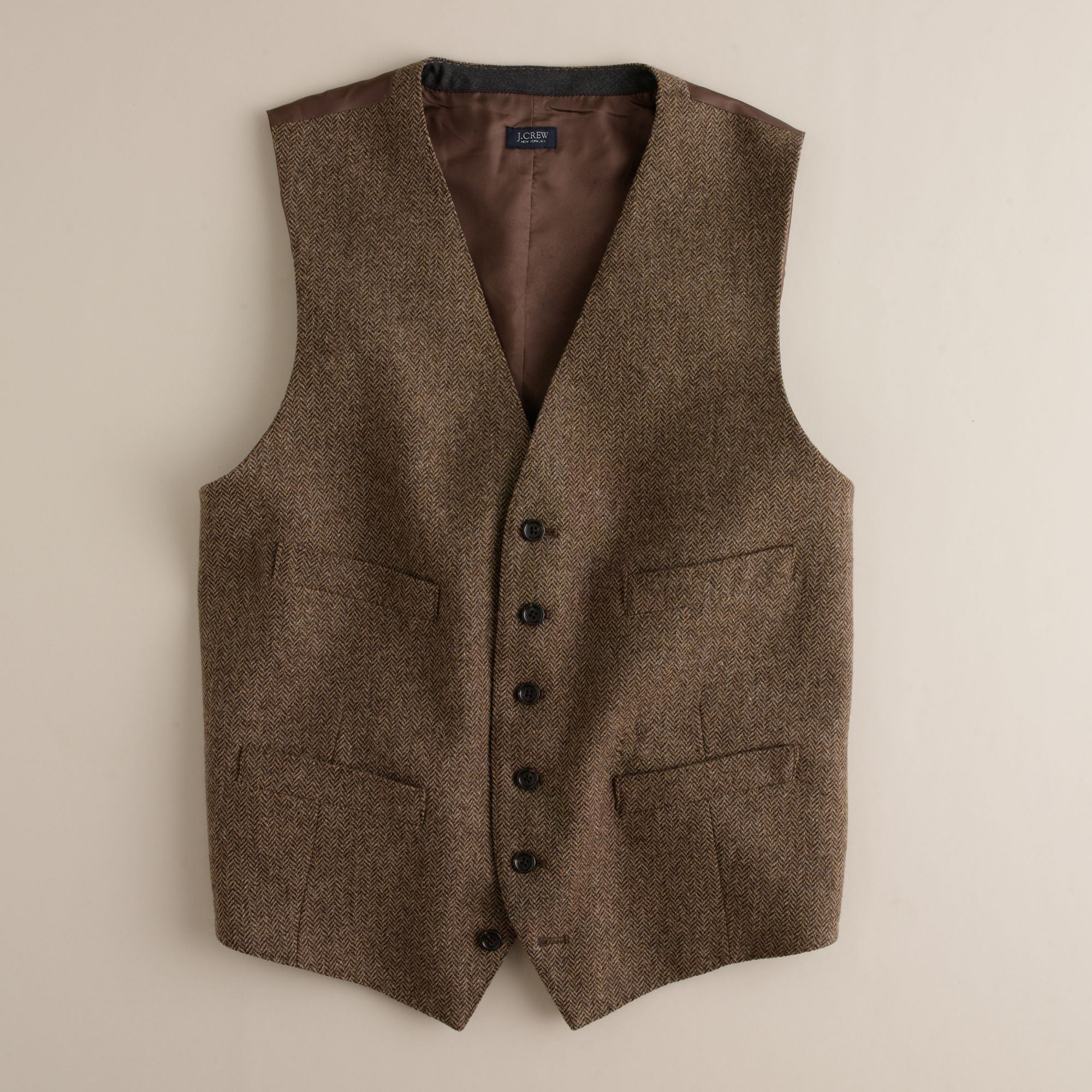 J.crew Harvest Herringbone Vest in Brown for Men