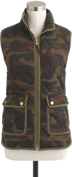 J Crew Excursion Quilted Vest In Green Camo Lyst