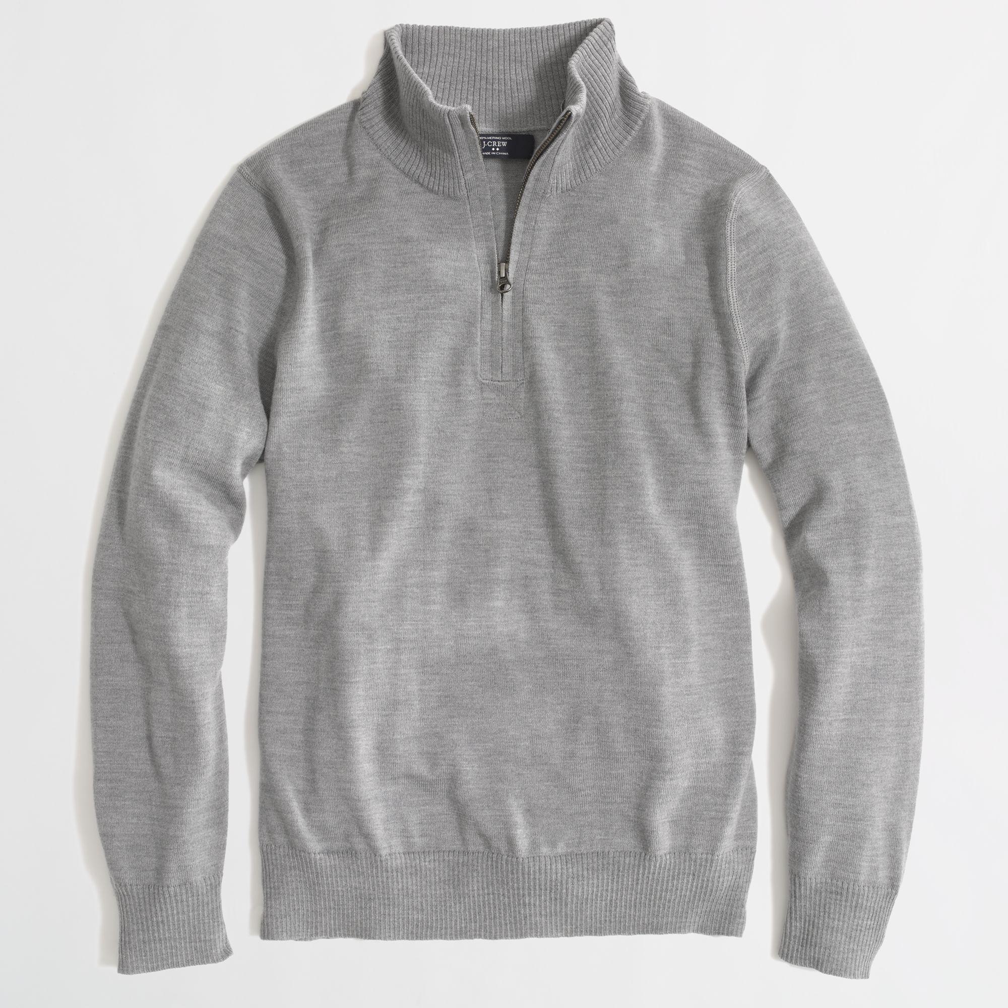 Hollister Oberbekleidung Returns Exchanges Hollister Pullover Hollister Hoodies Hollister Jeans: J.Crew Factory Merino Half Zip Sweater In Gray For Men