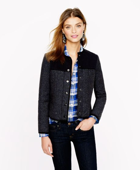 J Crew Quilted Jacket In Blue Navy Lyst