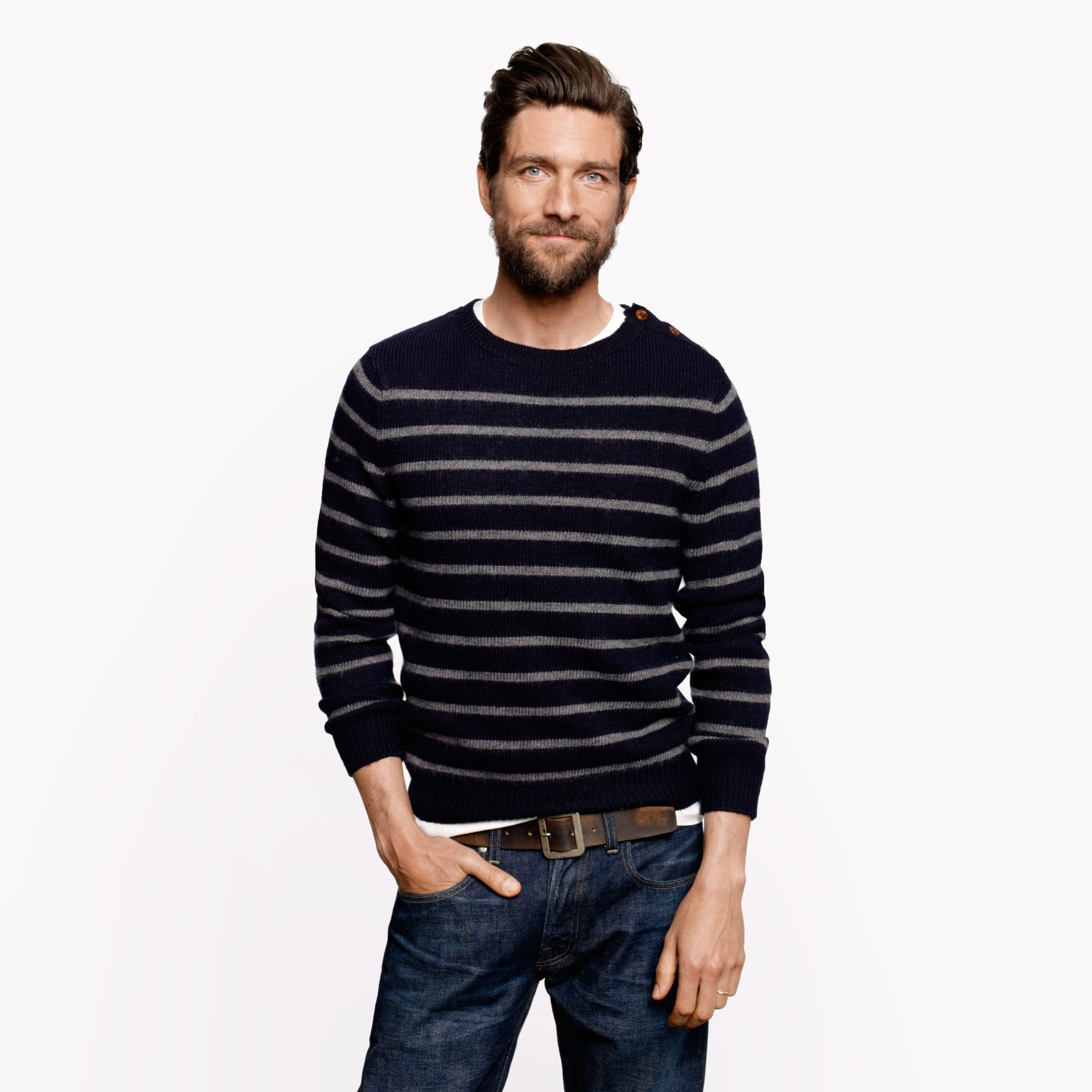 Wallace barnes buttoned sweater in stripe in blue for J crew mens outfits