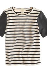 J.Crew Leather Sleeve Top in Stripe - Lyst