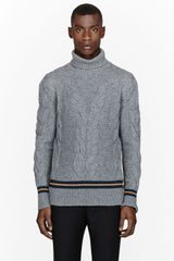 McQ by Alexander McQueen Grey Striped Cable-knit Turtleneck Sweater - Lyst