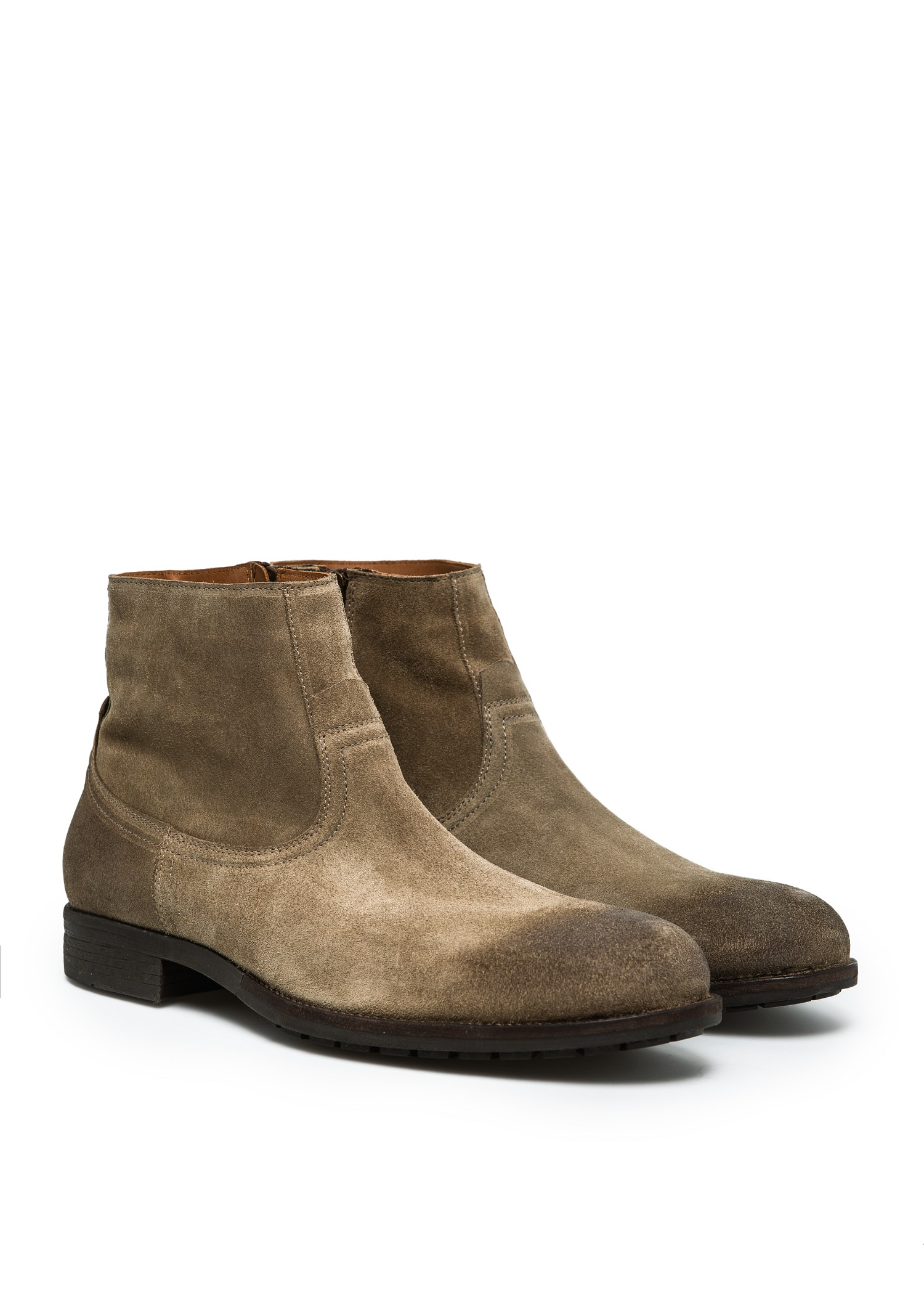 mango zipped suede ankle boots in brown for leather