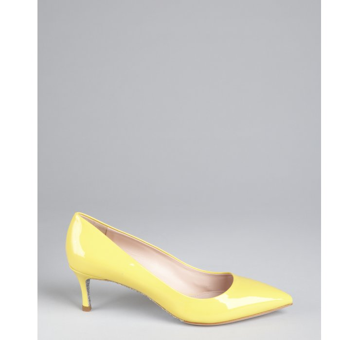 yellow kitten heel shoes heels zone