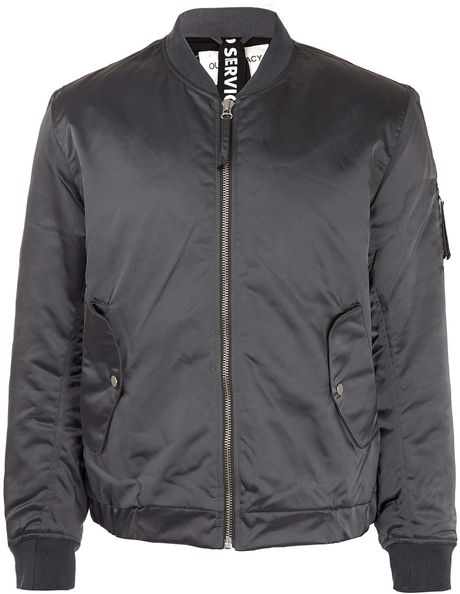 Our Legacy Silver Nylon Bomber Jacket in Silver for Men - Lyst