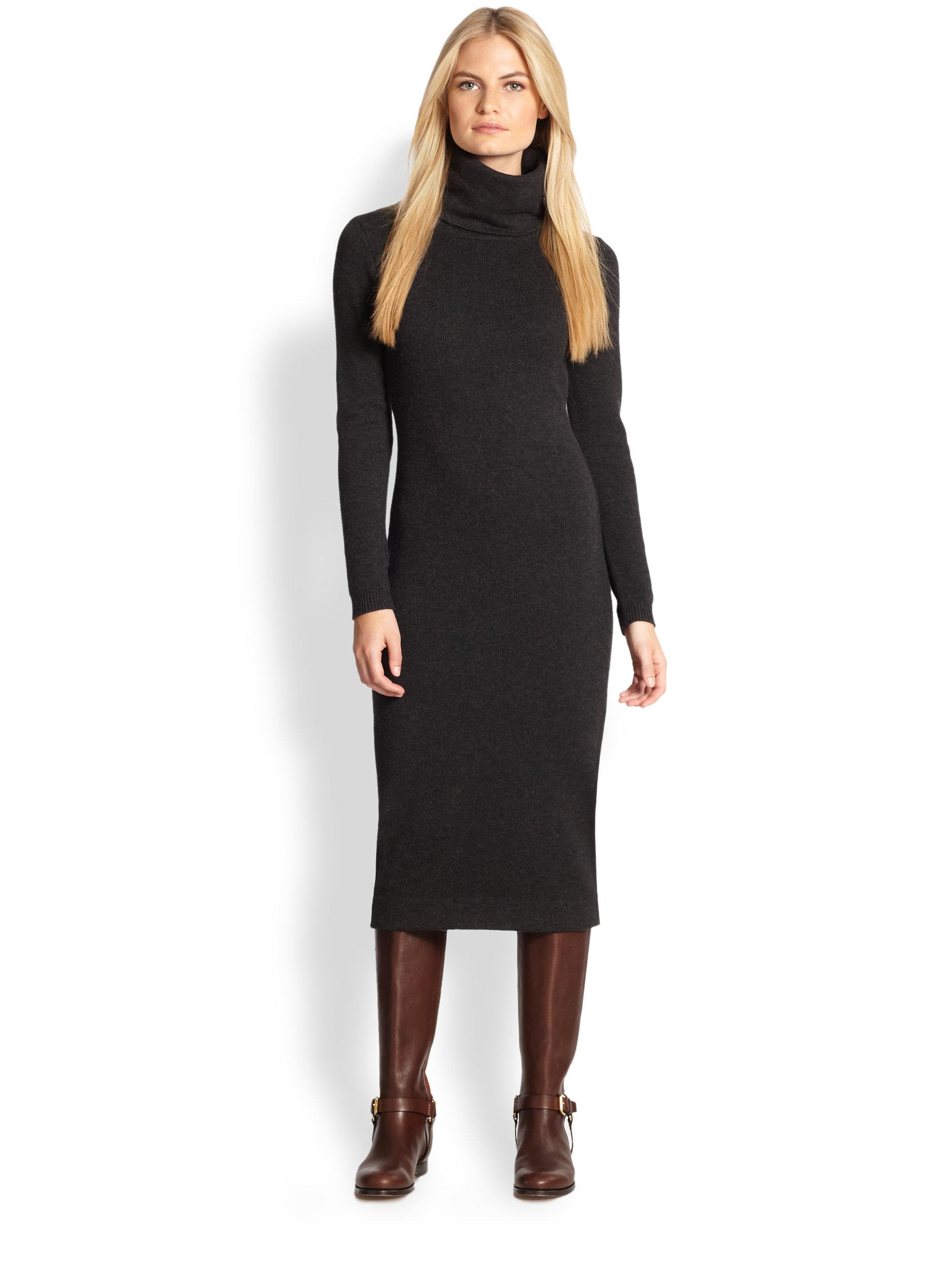 Ralph lauren black label Cashmere Turtleneck Dress in ...
