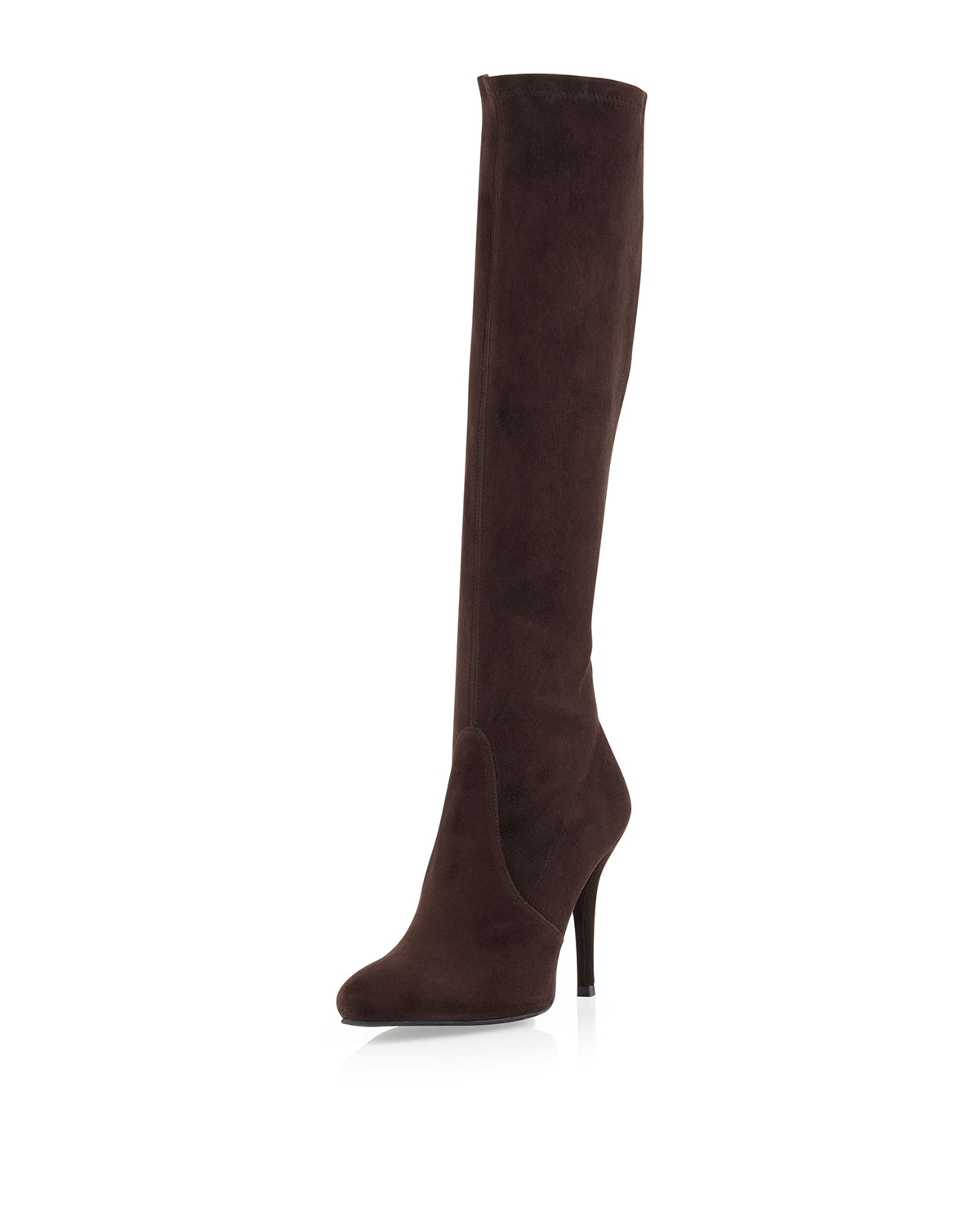 stuart weitzman jefe stretch suede boots in brown 5 lyst
