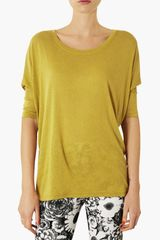 Topshop Oversized Elbow Sleeve Tee - Lyst