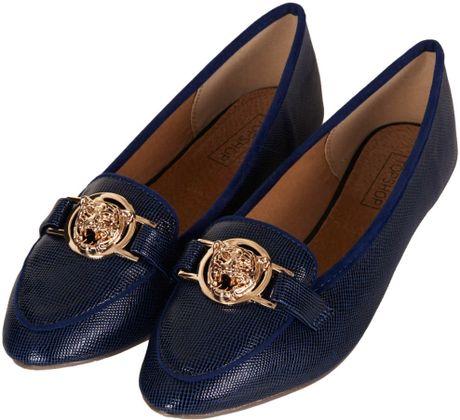 Topshop Mardi Gold Trim Slippers in Blue (NAVY BLUE) - Lyst